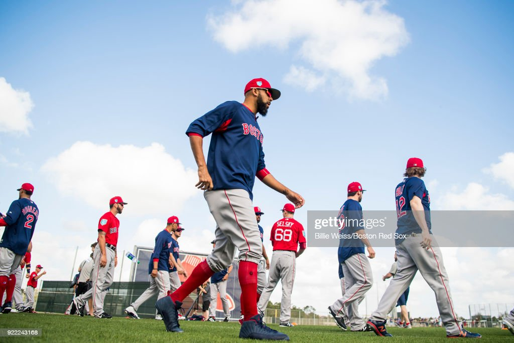 David Price #24 of the Boston Red Sox walks on the field during a team workout on February 21, 2018 at jetBlue Park at Fenway South in Fort Myers, Florida .