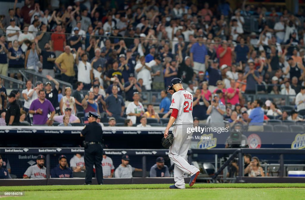 David Price #24 of the Boston Red Sox walks to the dugout after he was removed from a game against the Boston Red Sox in the fourth inning at Yankee Stadium on July 1, 2018 in the Bronx borough of New York City.