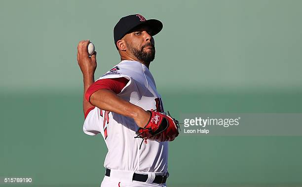 David Price of the Boston Red Sox warms up prior to the start of the Spring Training Game against the New York Yankees on March 15 2016 at Jet Blue...