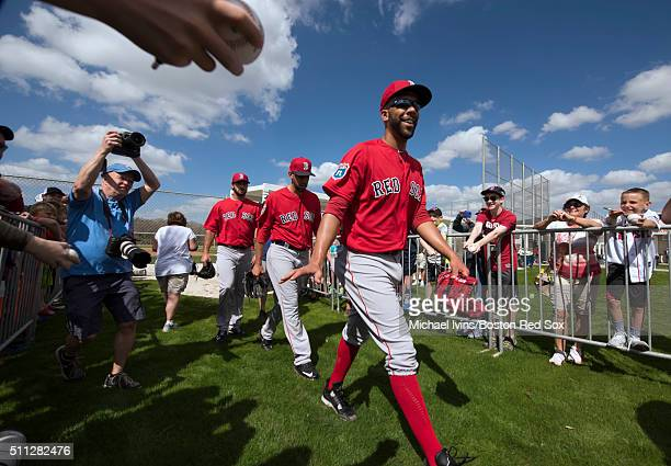 David Price of the Boston Red Sox waves to fans while leaving the practice field following a Spring Training workout on February 19 2016 at Fenway...