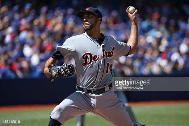 David Price of the Detroit Tigers delivers a pitch in the first inning during MLB game action against the Toronto Blue Jays on August 10 2014 at...