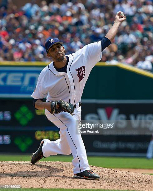David Price of the Detroit Tigers pitches in the sixth inning during a MLB game against the Toronto Blue Jays at Comerica Park on July 4 2015 in...