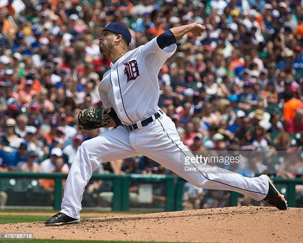 David Price of the Detroit Tigers pitches the baseball during a MLB game against the Toronto Blue Jays at Comerica Park on July 4 2015 in Detroit...