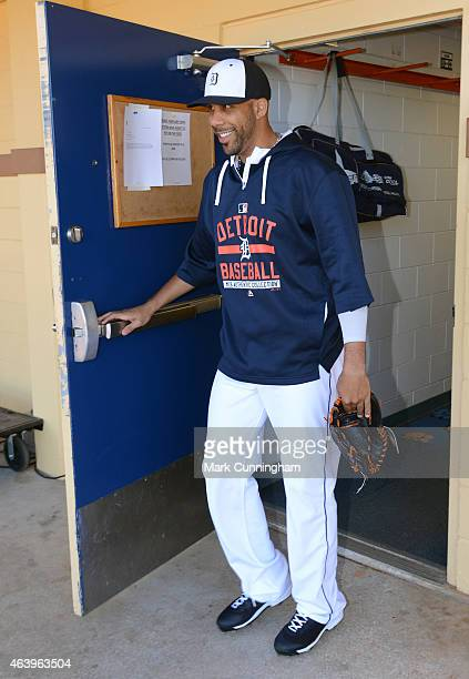 David Price of the Detroit Tigers walks out of the locker room during the first day of Spring Training workouts for pitchers and catchers at Joker...