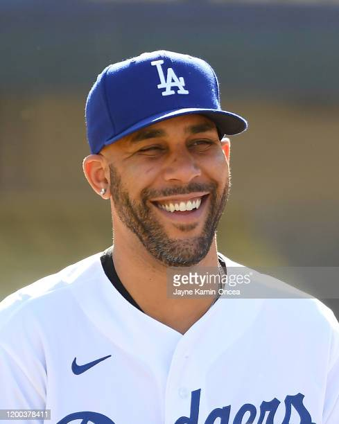 David Price of the Los Angeles Dodgers answers questions from the media during a news conference at Dodger Stadium on February 12 2020 in Los Angeles...
