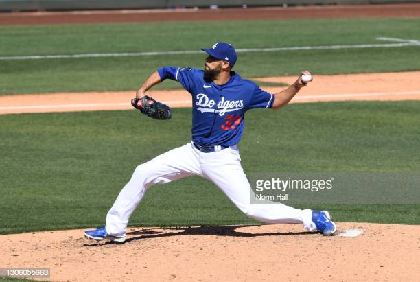David Price of the Los Angeles Dodgers delivers a pitch against the Chicago White Sox during a spring training game at Camelback Ranch on March 08,...