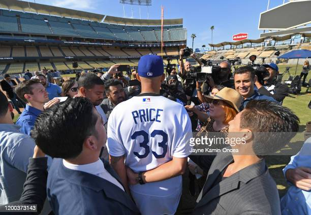 David Price of the Los Angeles Dodgers is interviewed by the media following a press conference at Dodger Stadium on February 12 2020 in Los Angeles...