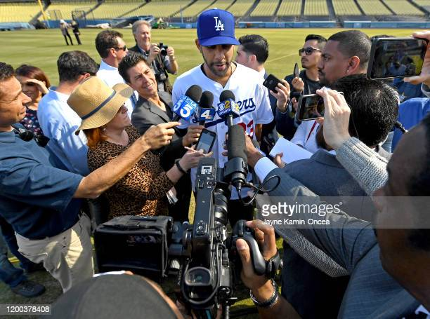 David Price of the Los Angeles Dodgers is interviewed by the media following a news conference at Dodger Stadium on February 12 2020 in Los Angeles...