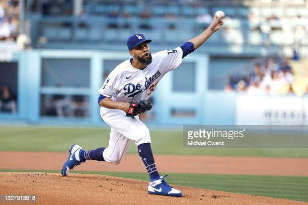 David Price of the Los Angeles Dodgers pitches against the Arizona Diamondbacks during the first inning at Dodger Stadium on July 09, 2021 in Los...