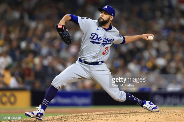 David Price of the Los Angeles Dodgers pitches during a game against the San Diego Padres at PETCO Park on June 21, 2021 in San Diego, California.