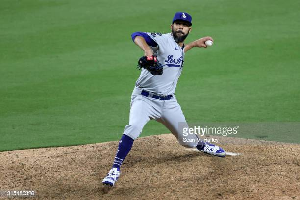 David Price of the Los Angeles Dodgers pitches during the 12th inning of a game against the San Diego Padres at PETCO Park on April 16, 2021 in San...