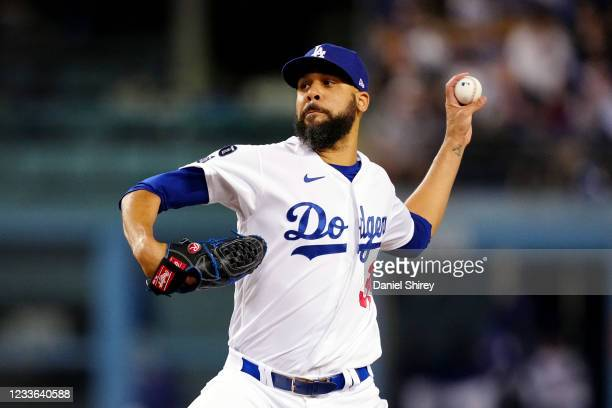 David Price of the Los Angeles Dodgers pitches during the game between the Chicago Cubs and the Los Angeles Dodgers at Dodgers Stadium on Thursday,...