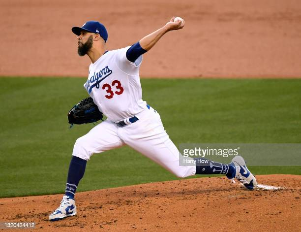 David Price of the Los Angeles Dodgers pitches during the second inning against the San Francisco Giants at Dodger Stadium on May 27, 2021 in Los...