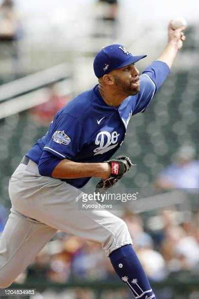 David Price of the Los Angeles Dodgers pitches in a spring training game against the Cincinnati Reds on March 2 in Goodyear, Arizona.