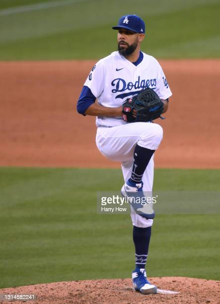 David Price of the Los Angeles Dodgers pitches in relief during the seventh inning against the San Diego Padres at Dodger Stadium on April 25, 2021...