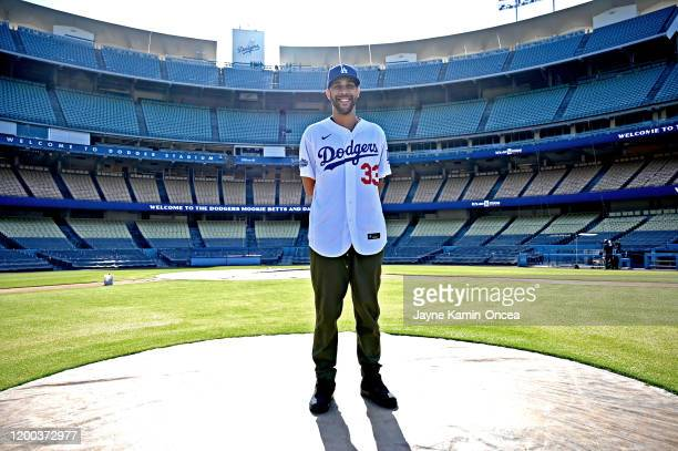 David Price of the Los Angeles Dodgers stands on the pitchers mound after an introductory press conference at Dodger Stadium on February 12, 2020 in...