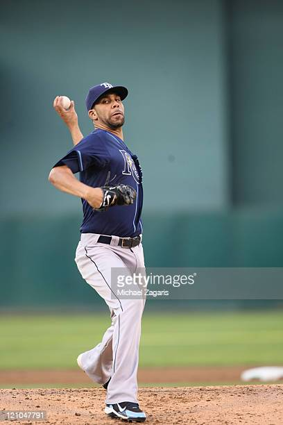David Price of the Tampa Bay Ray pitches against the Oakland Athletics at the OaklandAlameda County Coliseum on July 26 2011 in Oakland California...