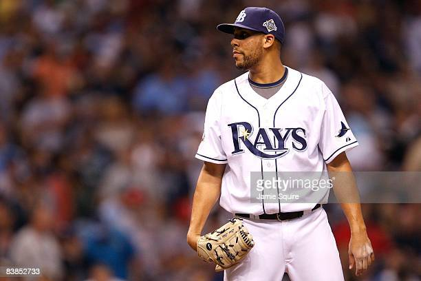David Price of the Tampa Bay Rays gets set to throw a pitch against the Philadelphia Phillies during game two of the 2008 MLB World Series on October...