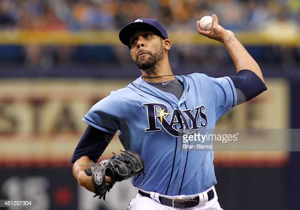 David Price of the Tampa Bay Rays pitches during the first inning of a game against the Pittsburgh Pirates on June 25 2014 at Tropicana Field in St...