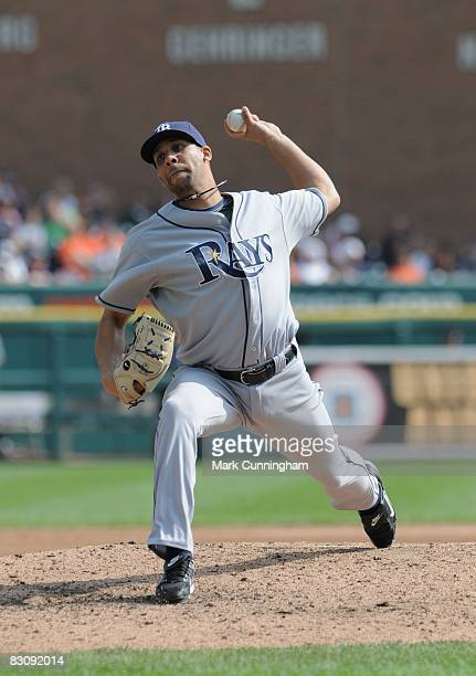 David Price of the Tampa Bay Rays pitches during the game against the Detroit Tigers at Comerica Park in Detroit Michigan on September 28 2008 The...