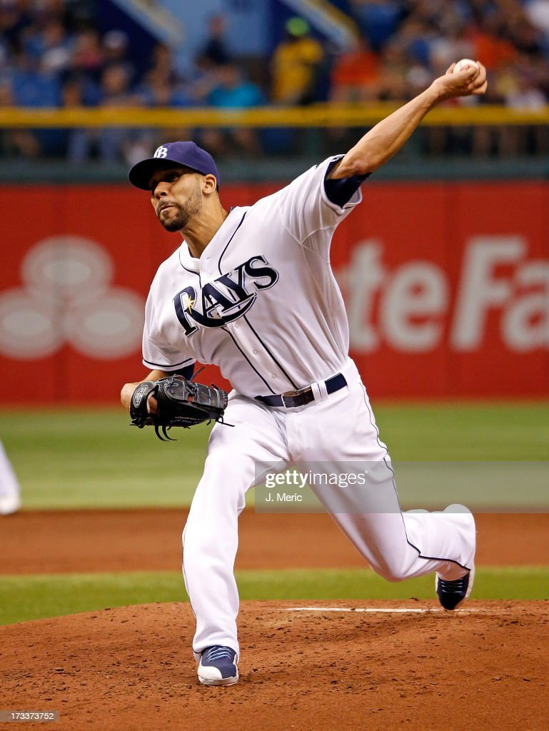 David Price #14 of the Tampa Bay Rays pitches in the first inning against the Houston Astros during the game at Tropicana Field on July 12, 2013 in St. Petersburg, Florida.
