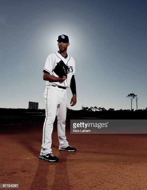 David Price of the Tampa Bay Rays poses for a photo during Spring Training Media Photo Day at Charlotte County Sports Park on February 26, 2010 in...