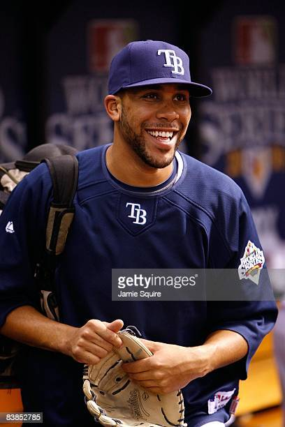 David Price of the Tampa Bay Rays smiles as he looks on from the dugout against the Philadelphia Phillies during game two of the 2008 MLB World...