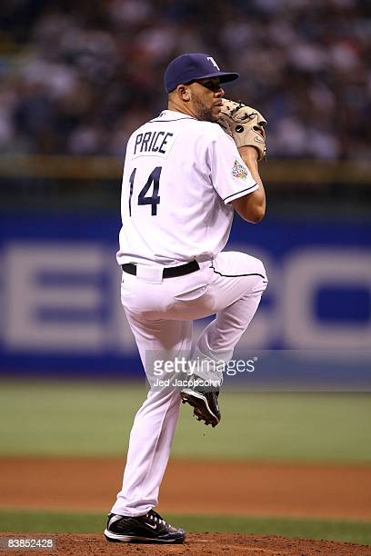 David Price of the Tampa Bay Rays throws a pitch against the Philadelphia Phillies during game two of the 2008 MLB World Series on October 23, 2008...