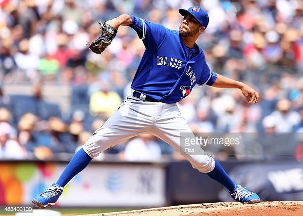 David Price of the Toronto Blue Jays delivers a pitch in the first inning against the New York Yankees on August 8 2015 at Yankee Stadium in the...
