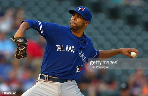 David Price of the Toronto Blue Jays pitches against the Texas Rangers in the bottom of the first inning at Globe Life Park in Arlington on August 26...