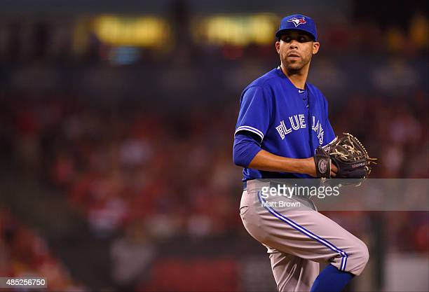 David Price of the Toronto Blue Jays pitches during the game against the Los Angeles Angels of Anaheim at Angel Stadium of Anaheim on August 21 2015...