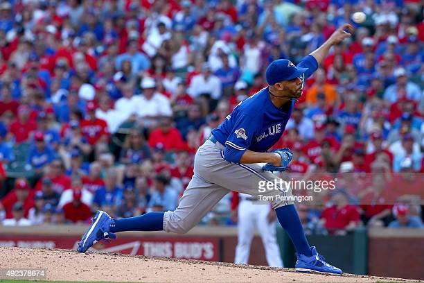 David Price of the Toronto Blue Jays pitches in relief in the sixth inning against the Texas Rangers in game four of the American League Division...