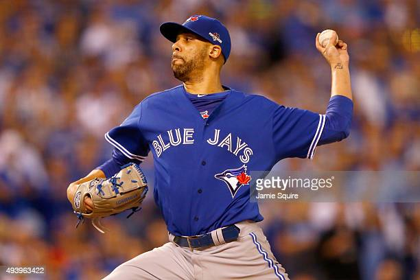 David Price of the Toronto Blue Jays pitches in the first inning against the Kansas City Royals in game six of the 2015 MLB American League...
