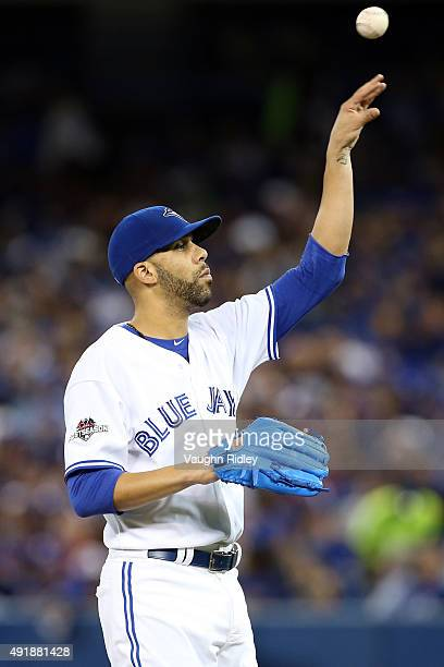 David Price of the Toronto Blue Jays prepares to throw a pitch against the Texas Rangers during game one of the American League Division Series at...