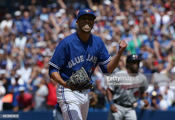 David Price of the Toronto Blue Jays reacts after striking out Kurt Suzuki of the Minnesota Twins to end the fourth inning during MLB game action on...