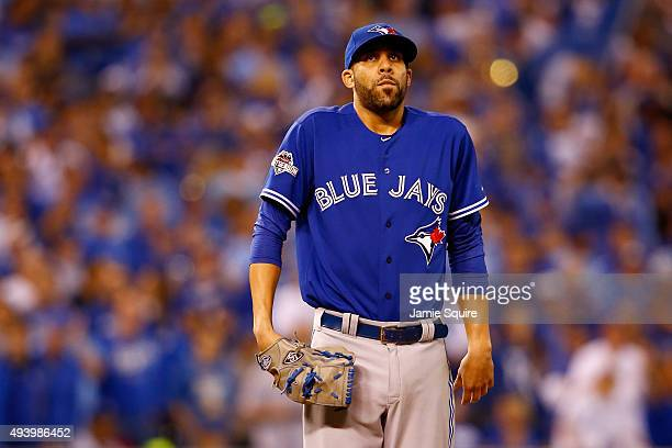 David Price of the Toronto Blue Jays reacts on the mound in the seventh inning while taking on the Kansas City Royals in game six of the 2015 MLB...
