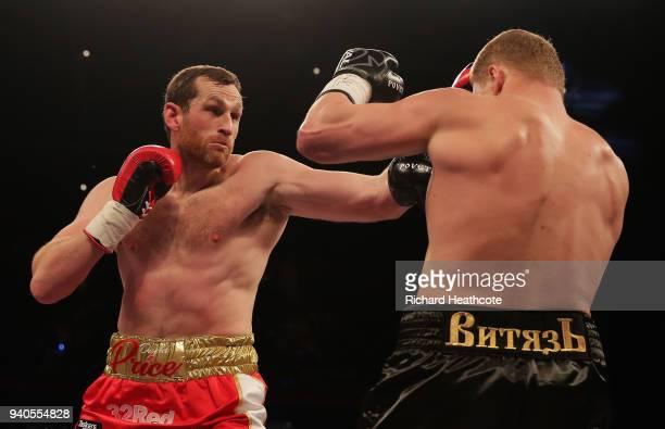 David Price punches Alexander Povetkin during there WBA InterContinental Heavyweight WBO International Heavyweight Championship title fight at...