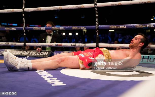 David Price reacts to be knocked down by Alexander Povetkin during thier WBA InterContinental Heavyweight WBO International Heavyweight Championship...