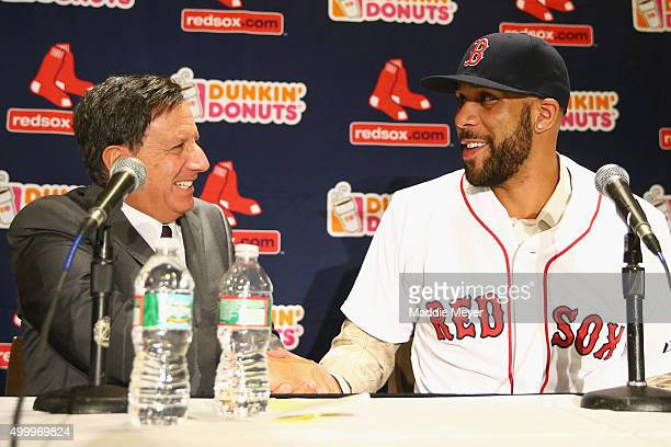 David Price shakes hands with Red Sox Chairman Tom Werner during his introductory press conference at Fenway Park on December 4 2015 in Boston...
