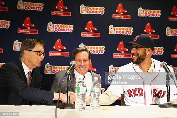 David Price shakes hands with Red Sox owner John Henry during his introductory press conference at Fenway Park on December 4 2015 in Boston...