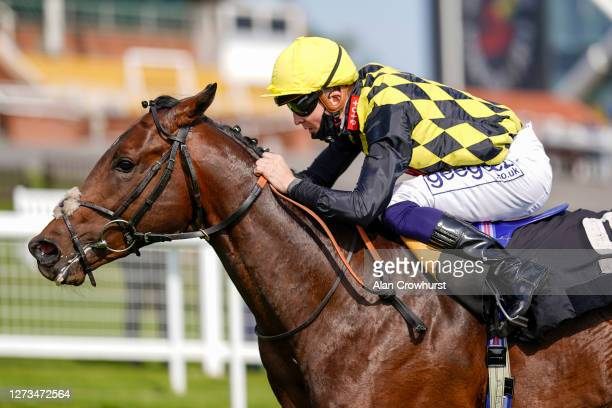 David Probert riding Oo de Lally win The Heatherwold Stud EBF Novice Stakes at Newbury Racecourse on September 19 2020 in Newbury England Owners are...