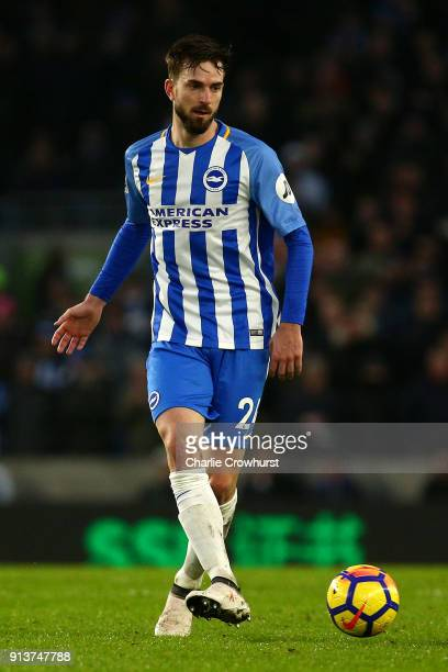 David Propper of Brighton during the Premier League match between Brighton and Hove Albion and West Ham United at Amex Stadium on February 3 2018 in...