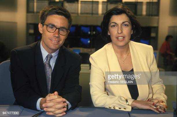 David Pujadas And Ruth Elkrief On LCI First French Info TV Channel Paris June 8 1994