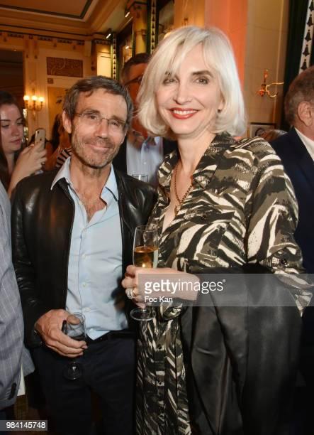 David Pujadas and Severine Servat de Rugy attend 'L'Ete Litteraire Des Deux Magots ' Book Signing Cocktail at Les Deux Magots Cafe on June 25 2018 in...