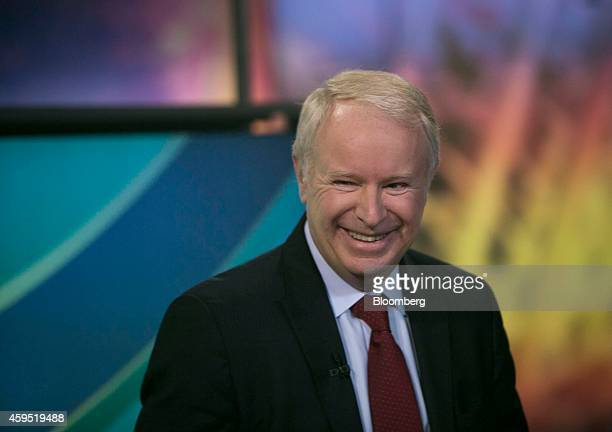 David Pyott chief executive officer of Allergan Inc smiles after a Bloomberg Television interview in New York US on Monday Nov 24 2014 Actavis Plc...