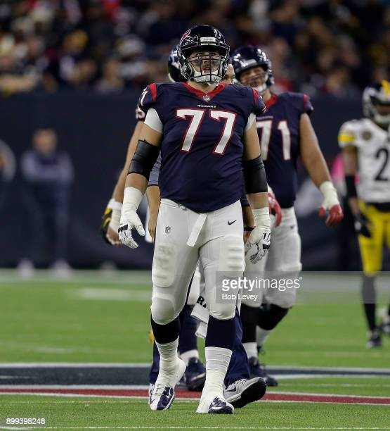 David Quessenberry of the Houston Texans during game action against the Pittsburgh Steelers He made his NFL debut after being diagnosed with...