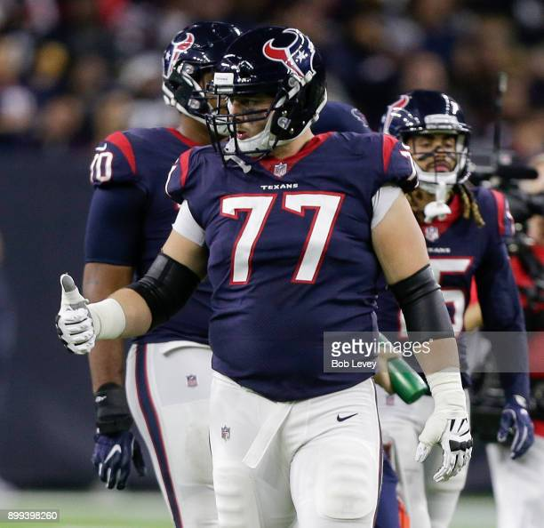 David Quessenberry of the Houston Texans during game action against the Pittsburgh Steelers. He made his NFL debut after being diagnosed with...