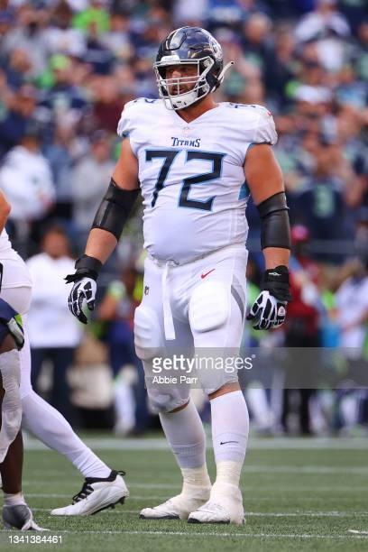 David Quessenberry of the Tennessee Titans lines up for play against the Seattle Seahawks during the third quarter at Lumen Field on September 19,...