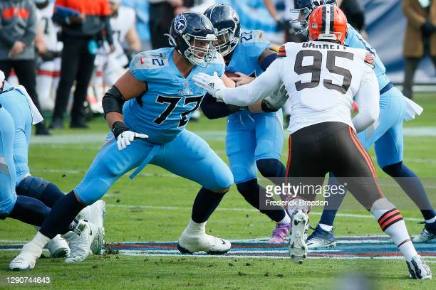 David Quessenberry of the Tennessee Titans plays against the Cleveland Browns at Nissan Stadium on December 06, 2020 in Nashville, Tennessee.