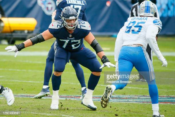 David Quessenberry of the Tennessee Titans plays against the Detroit Lions at Nissan Stadium on December 20, 2020 in Nashville, Tennessee.